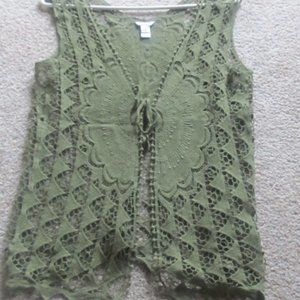 WOMENS CROCHET OLIVE GREEN VEST